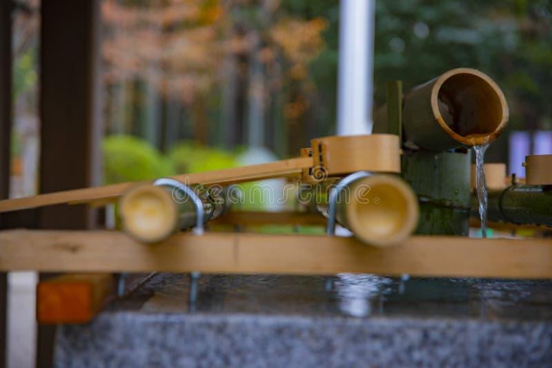 Cuvette de purification au tombeau de hachiman d'Oomiya ? Tokyo photos libres de droits