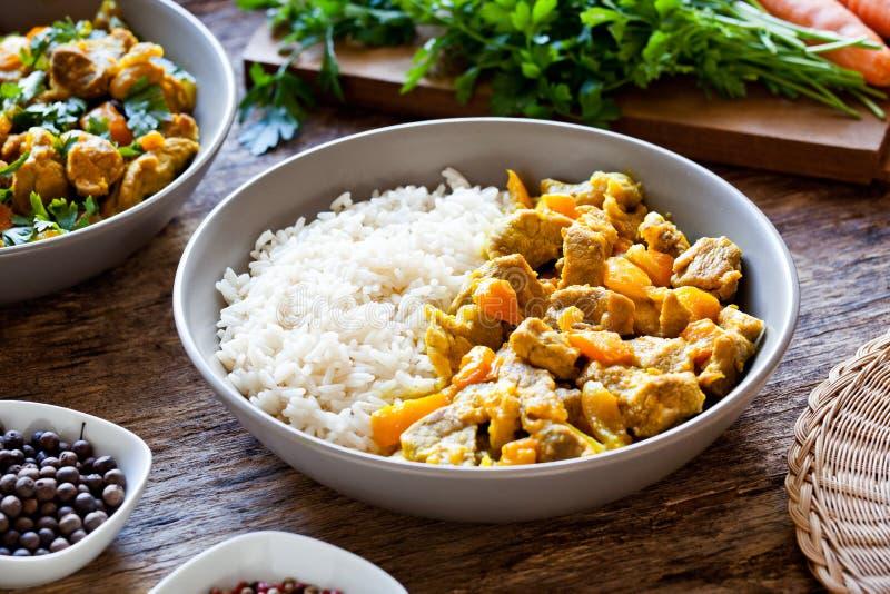Cuvette de repas fait maison de cari avec du riz images libres de droits