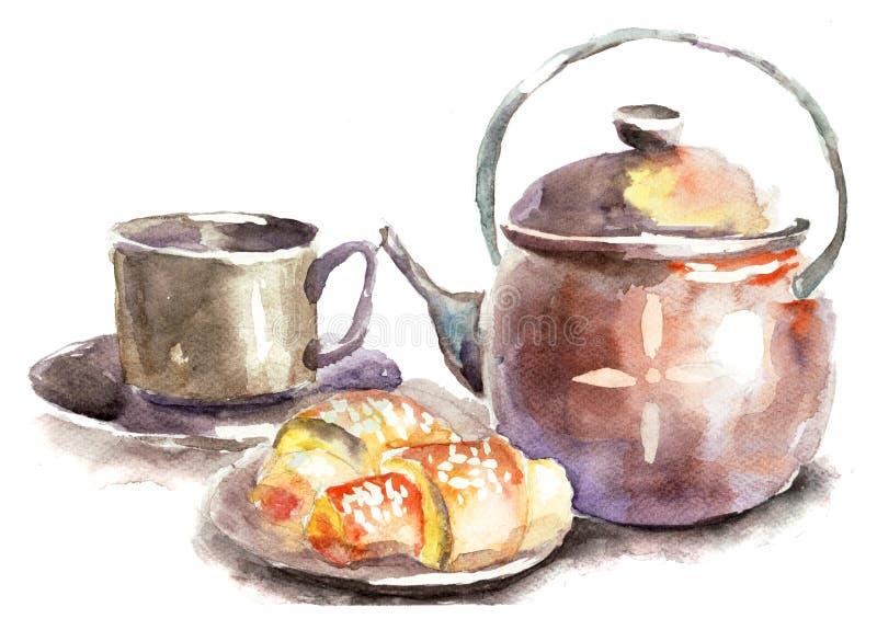Cuvette de thé avec des pains illustration de vecteur