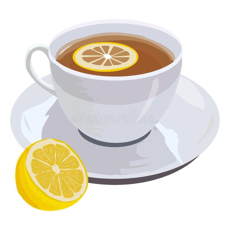 Cuvette de thé et de citron illustration stock