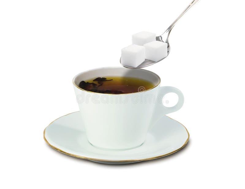 Cuvette de thé et de sucre illustration libre de droits