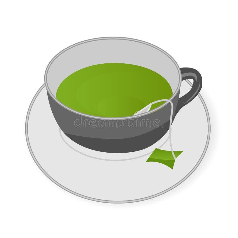 Cuvette de thé vert illustration stock