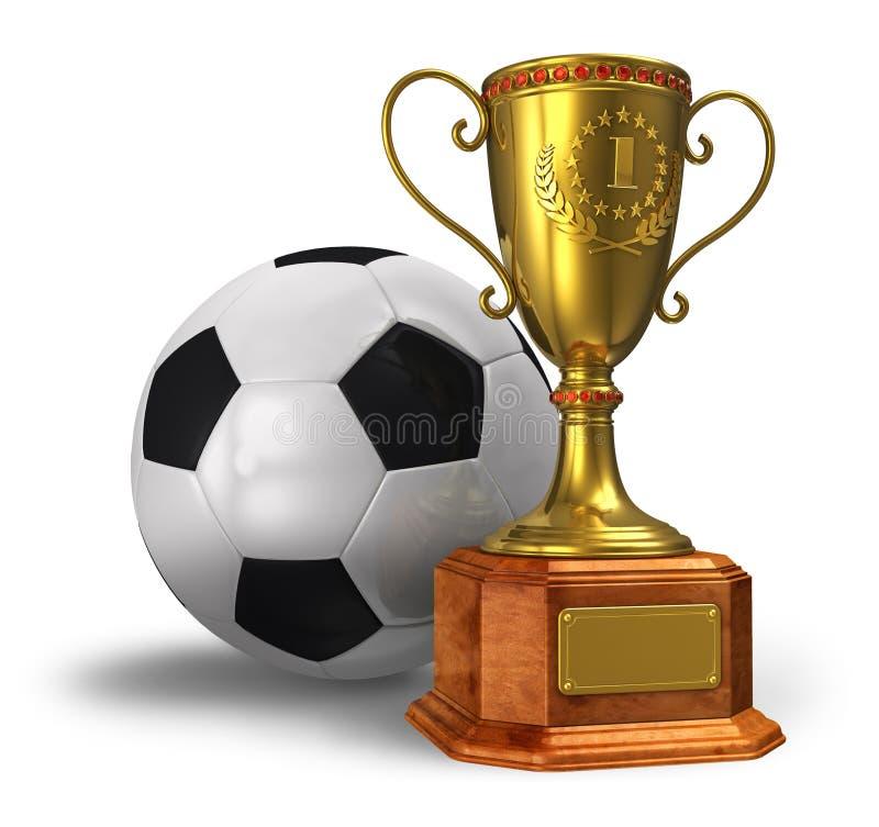 Cuvette de trophée et bille de football d'or illustration libre de droits