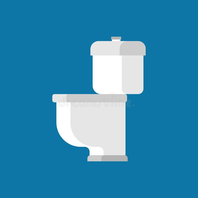 Cuvette des toilettes d'isolement sur le fond bleu Défectuosité accessoire de vecteur de carte de travail illustration de vecteur