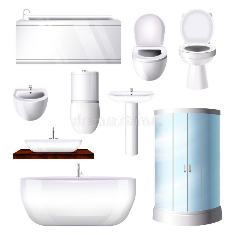 Cuvette des toilettes intérieure de douche d'évier de baignoire de vecteur de salle de bains dans l'ensemble d'illustration de ba illustration de vecteur
