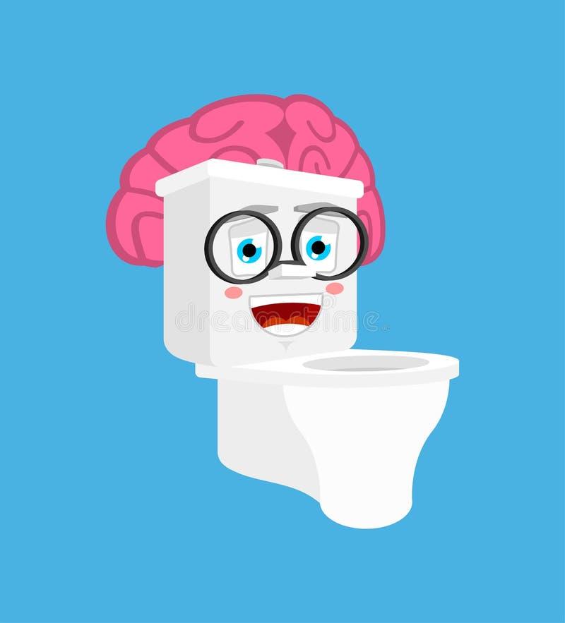 Cuvette des toilettes intelligente avec des cerveaux d'isolement style de bande dessinée de toilettes vecteur intelligent de toi illustration libre de droits