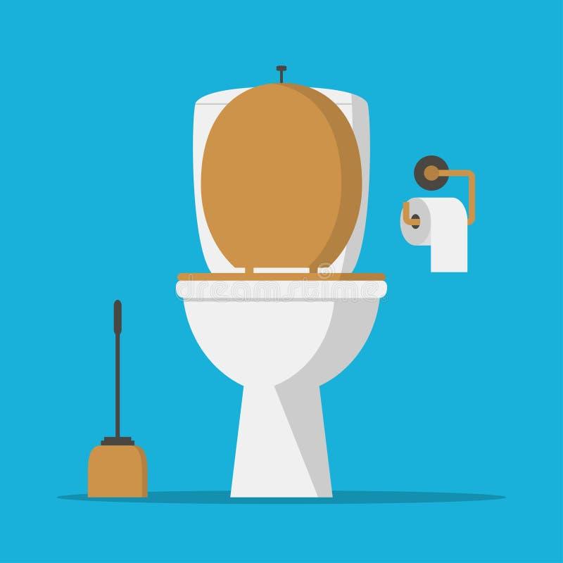 Cuvette des toilettes, papier de toilettes et brosse de toilette Vecteur illustration de vecteur