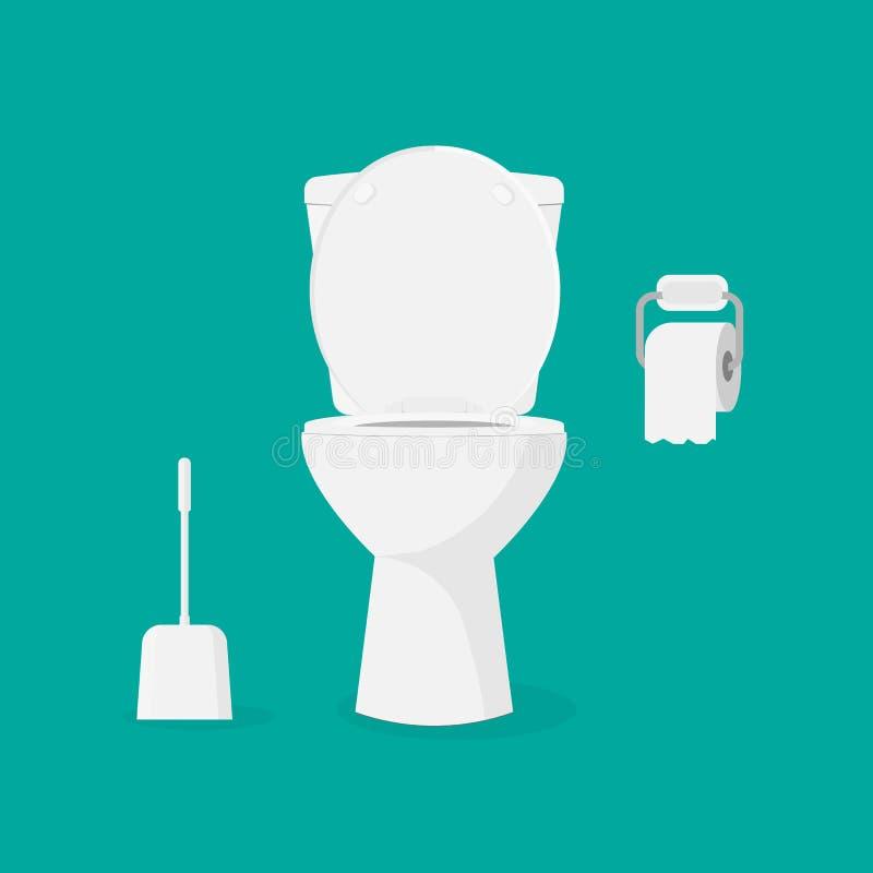 Cuvette des toilettes, papier hygiénique et brosse pour la cuvette des toilettes illustration de vecteur