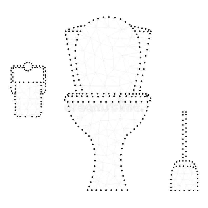 Cuvette des toilettes, polygone, blanc noir illustration libre de droits