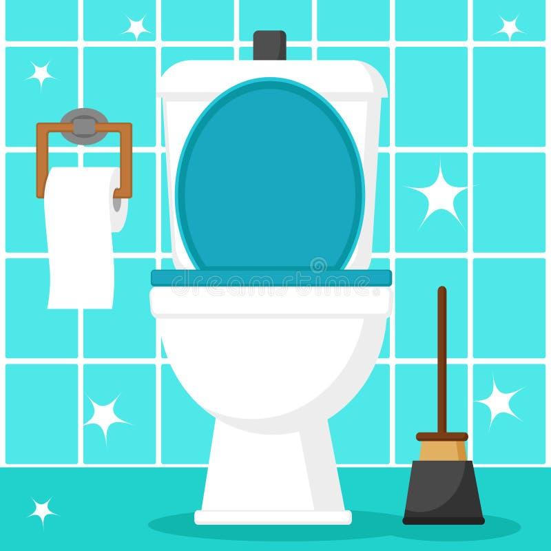 Cuvette des toilettes propre avec du papier hygiénique et le plongeur sur une tuile bleue illustration de vecteur