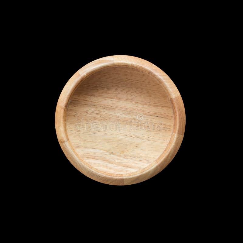 Cuvette en bois vide lumineuse de vue supérieure d'isolement sur le blanc Enregistré avec image libre de droits