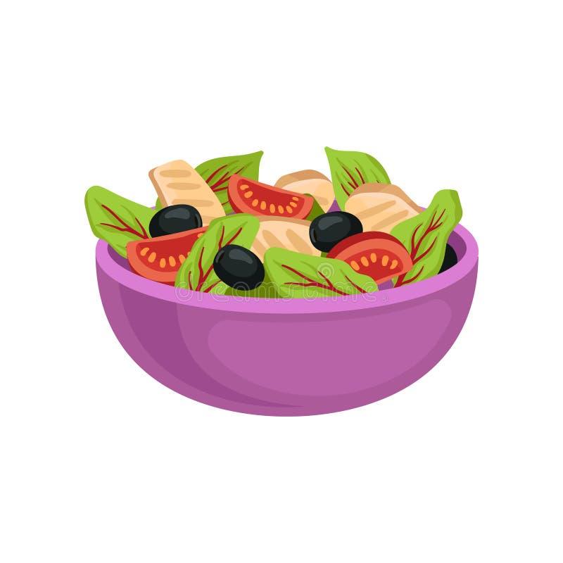 Cuvette en céramique pourpre avec de la salade fraîche Nourriture organique et saine Paraboloïde appétissant Vecteur plat pour l' illustration stock