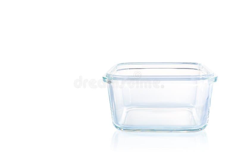 Cuvette en verre carrée de cuisine sur le fond blanc images libres de droits