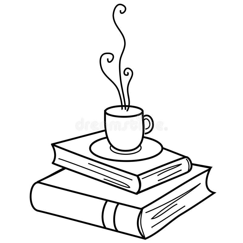 Cuvette et livres de Coffe illustration libre de droits