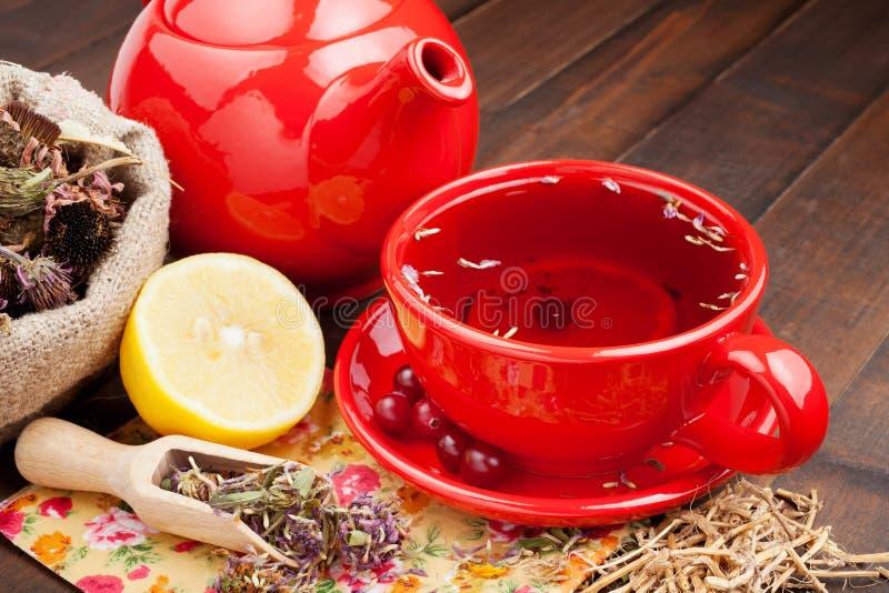Cuvette et théière de thé rouge, herbes curatives et citron image libre de droits