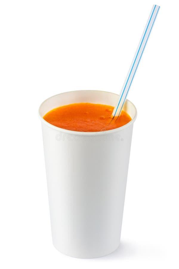 Cuvette remplaçable de boisson et de paille pétillantes oranges photo libre de droits