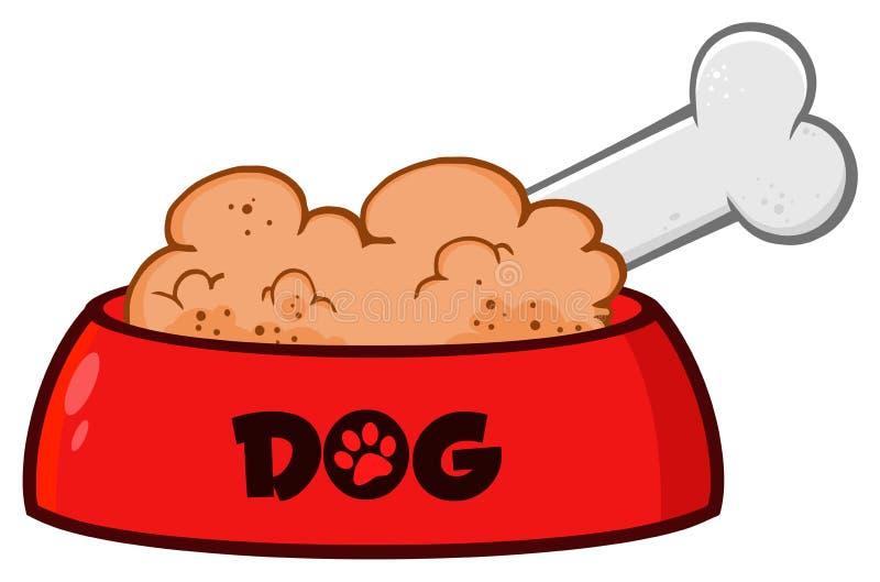 Cuvette rouge de chien avec les aliments pour animaux et l'os dessinant la conception simple illustration libre de droits
