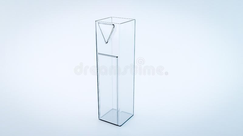 Cuvette for Spectrophotometry experiments to measure how much a chemical substance absorbs. Light royalty free stock photo