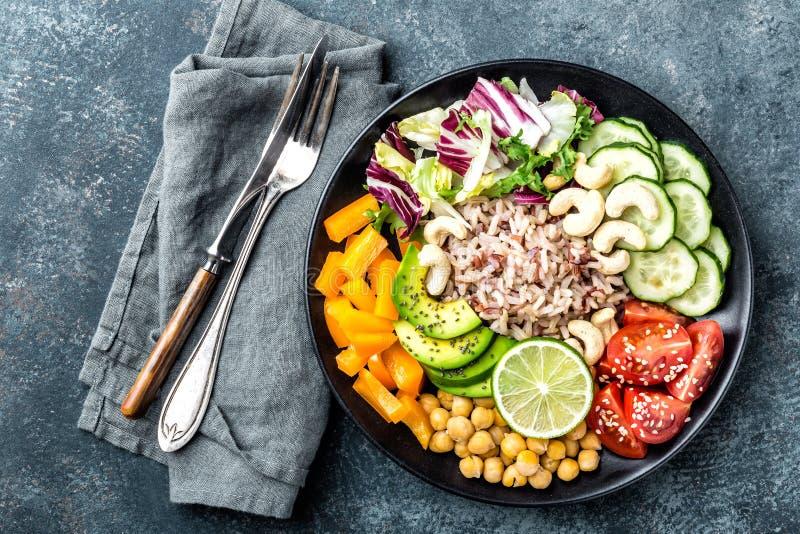 Cuvette végétarienne de Bouddha de salade images stock