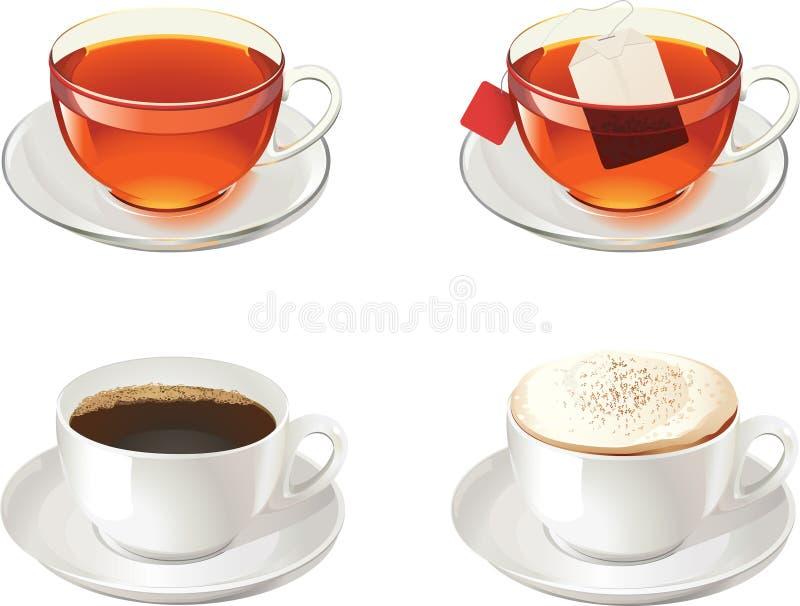 Cuvettes avec du thé, le cofee et le cappuccino illustration libre de droits
