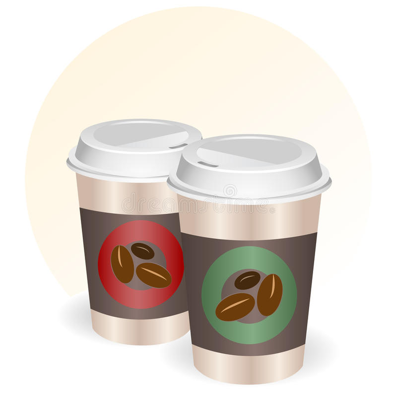 Cuvettes de café à aller illustration libre de droits