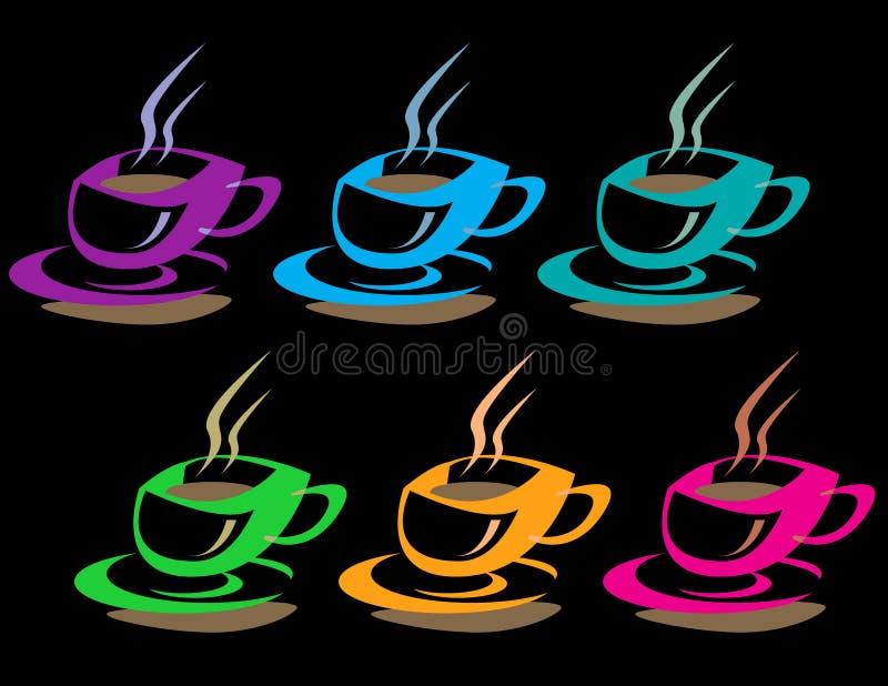 Cuvettes de café colorées illustration stock