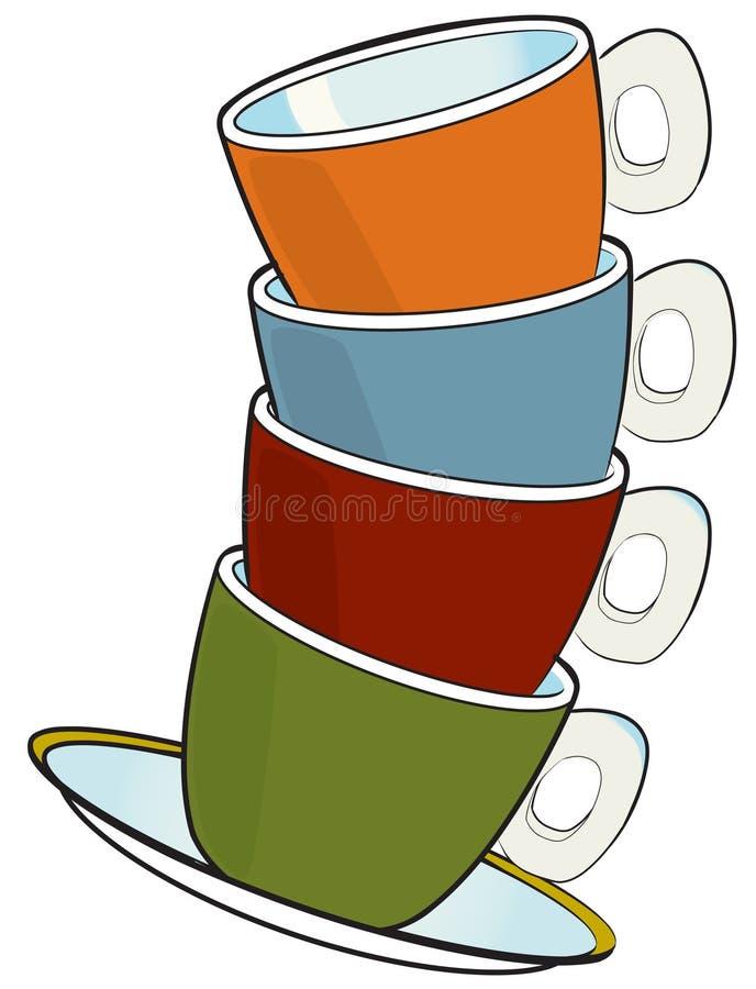 Cuvettes de café express illustration stock
