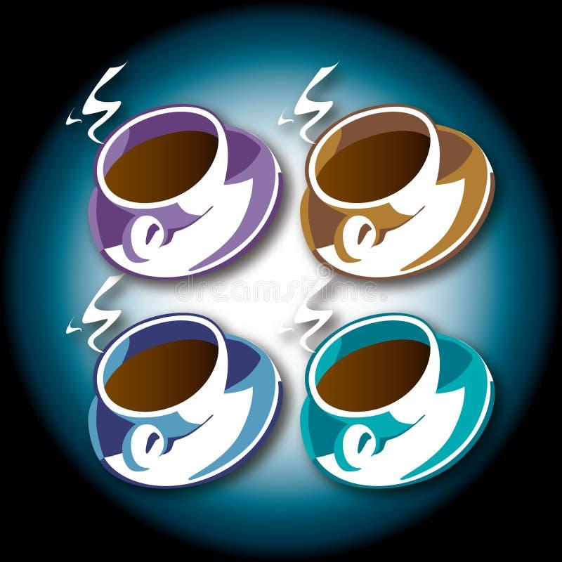 Cuvettes de café illustrées illustration de vecteur