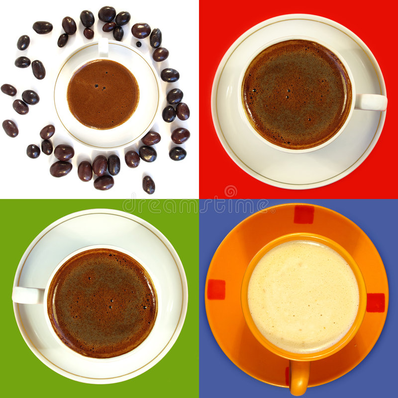 Cuvettes de café noir images libres de droits