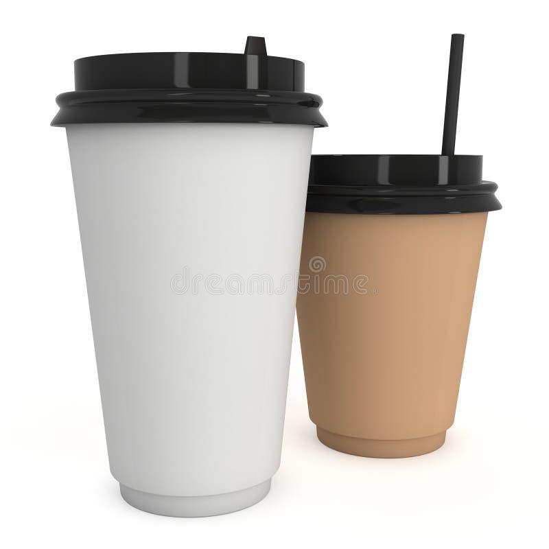 Cuvettes de café remplaçables Tasse de papier blanc avec le chapeau en plastique illustration stock