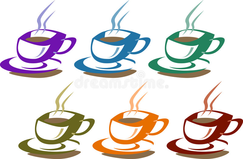 Cuvettes de café sur le blanc illustration de vecteur