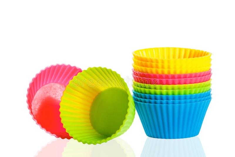 Cuvettes de silicones de cuisson pour des petits gâteaux ou des petits pains photo libre de droits