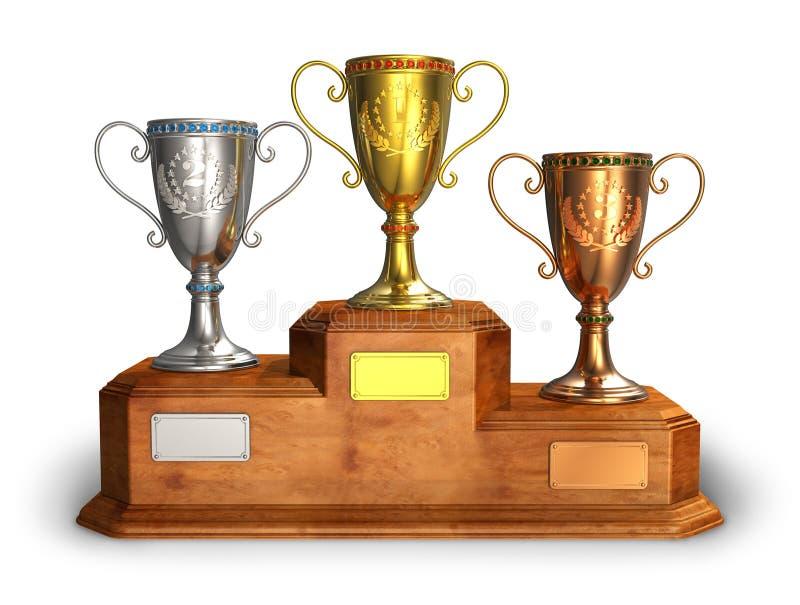 Cuvettes de trophée d'or, d'argent et de bronze sur le pupitre illustration libre de droits