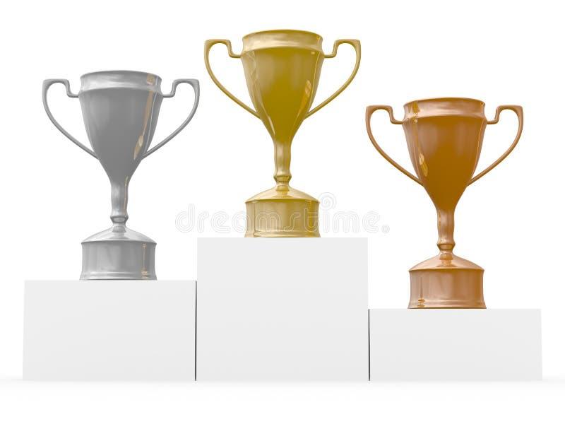Cuvettes pour des gagnants des concours illustration stock