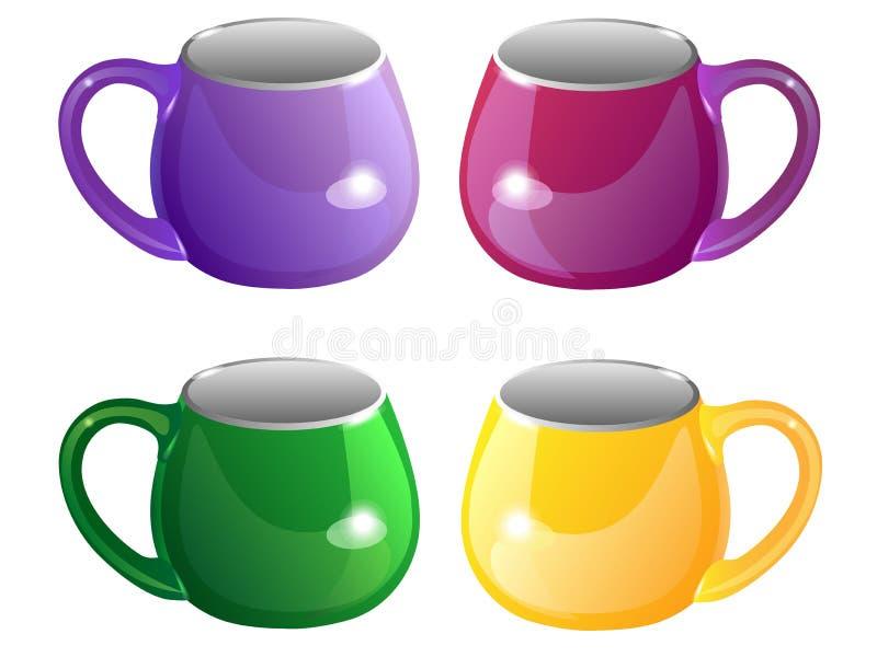 cuvettes Un ensemble de tasses Tasses multicolores pour le thé illustration de vecteur