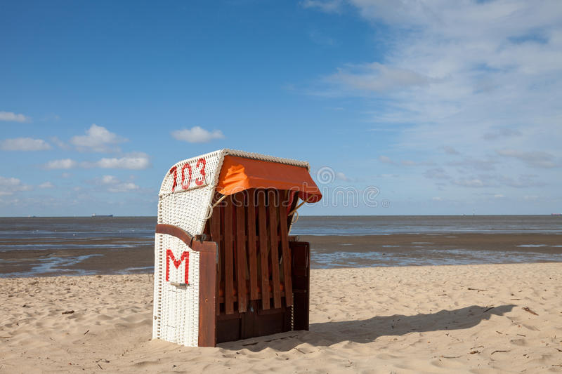 Cuxhaven, beach and hooded beach chair stock images