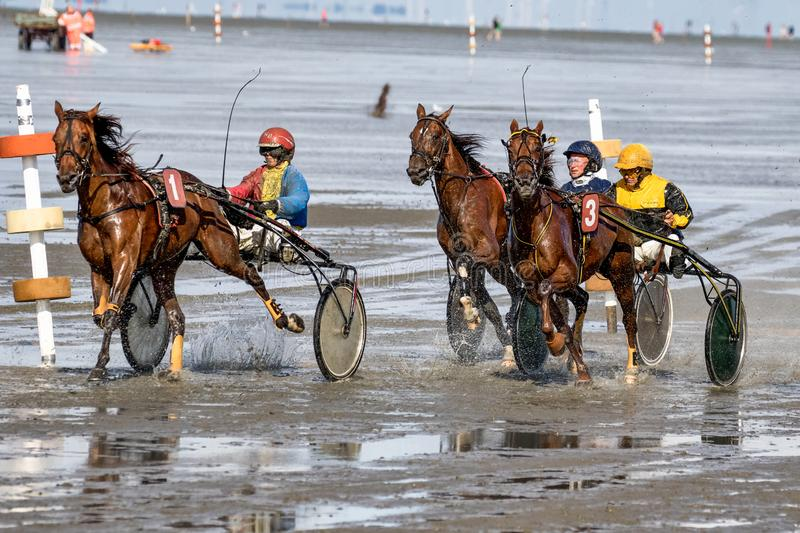 Cuxhaven, Germany - July 22, 2018: equestrian at the horse race in the mud flat at Duhner Wattrennen stock photo