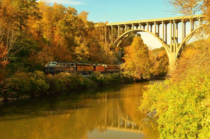 Cuyahoga-Tal-szenischer Eisenbahnzug unter Brückenüberführung lizenzfreie stockfotos