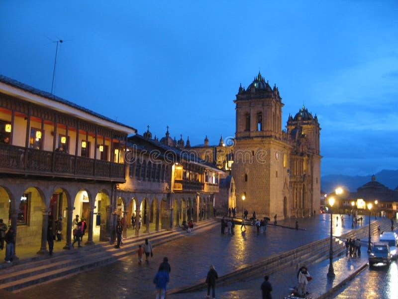 Cuzco church at twilight royalty free stock photos