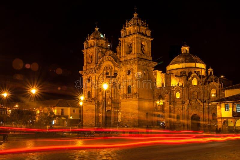 Cuzco in Night. Night Cuzco at Plazza de Armas stock image
