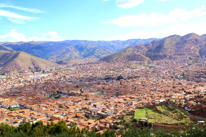 cuzco Pérou Vue d'horizon de Saqsaywaman image libre de droits
