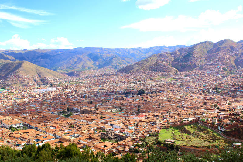 cuzco Peru Linia horyzontu widok od Saqsaywaman obraz royalty free