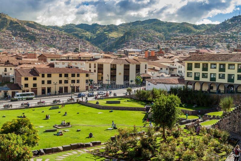 CUZCO PERU, MAJ, - 23, 2015: Widok Cuzco od klasztoru Santo Domingo w Cuzco, Na fotografia royalty free