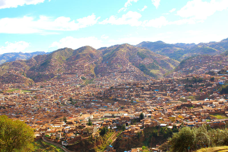 cuzco Peru Plac De Armas, linia horyzontu widok obraz royalty free
