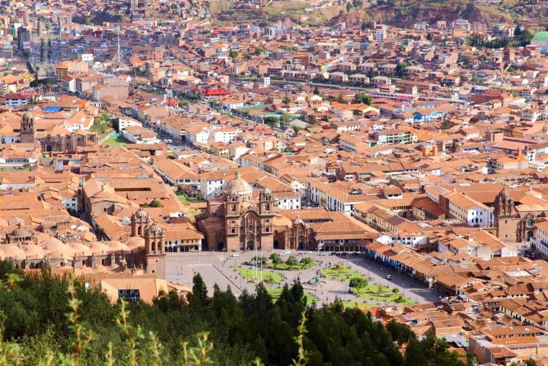 cuzco Peru Plac De Armas, linia horyzontu widok obrazy stock