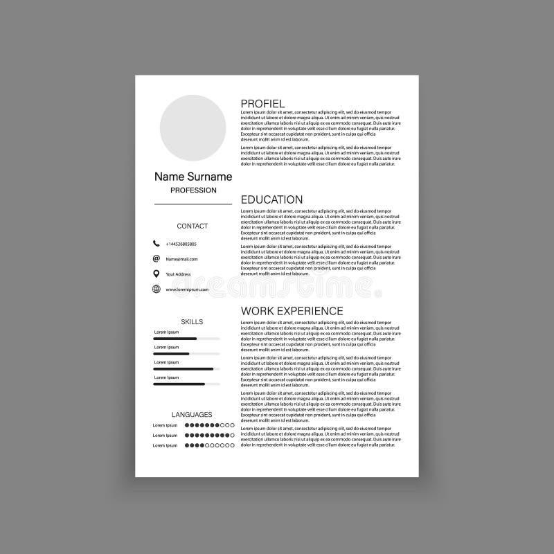 CV życiorysu szablonu projekt dla kreatywnie osoby również zwrócić corel ilustracji wektora ilustracji