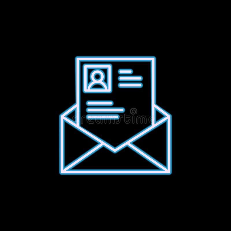 CV в линии значке конверта в неоновом стиле Одно Headhunting, значок собрания HR можно использовать для UI, UX бесплатная иллюстрация