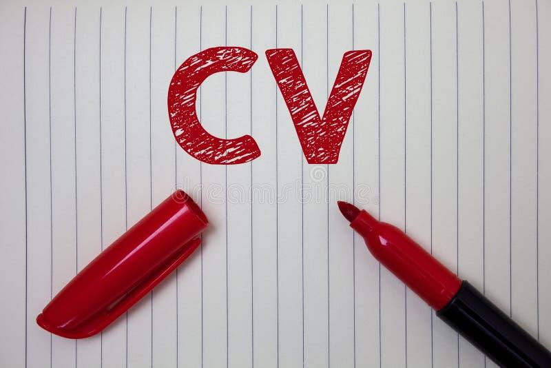 Cv текста сочинительства слова Концепция дела для учебной программы - работы Infographics резюма vitae ища бумагу тетради рекрутс стоковое фото