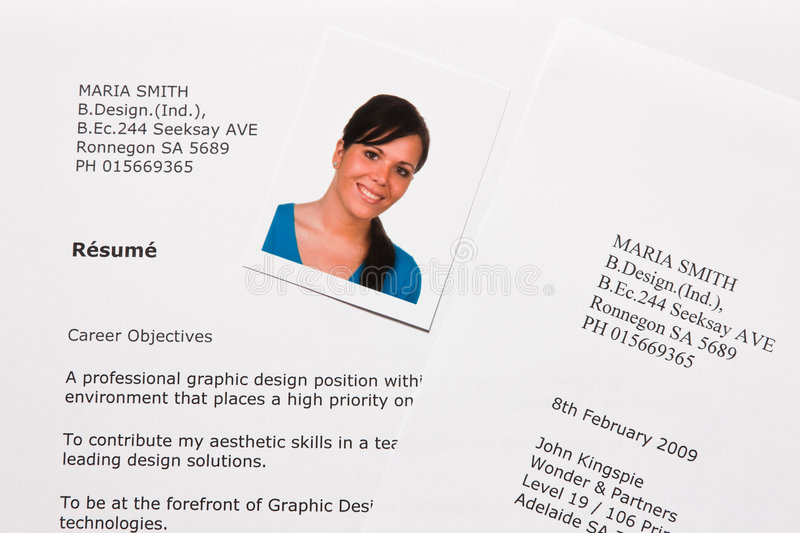 cv and application letter in english stock image