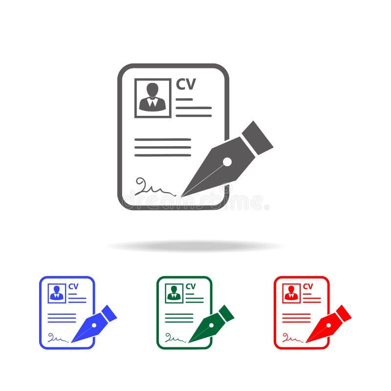 CV approvevent Mano con la muestra de la pluma un icono del uso de trabajo Elementos del recurso humano en iconos coloreados mult stock de ilustración